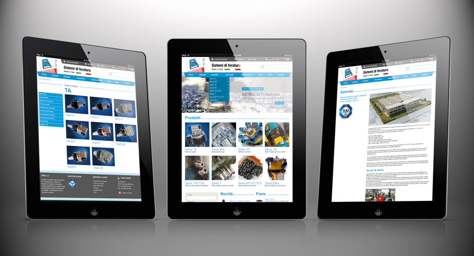 3 iPad con sito OMG